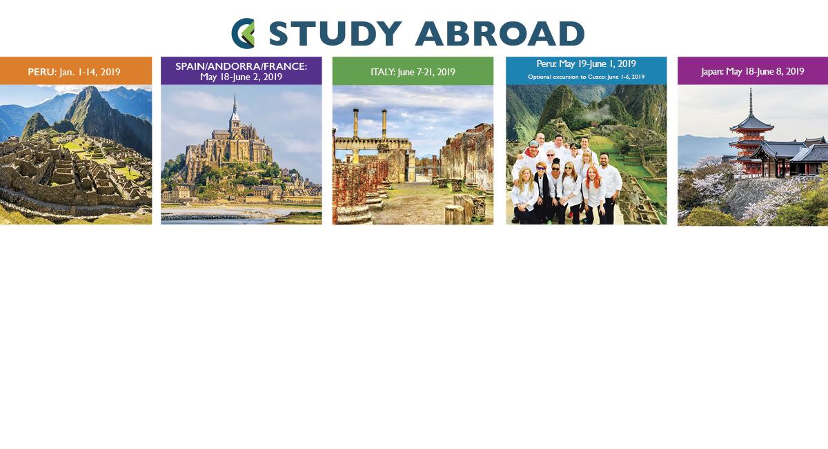 Study Abroad: Peru, Spain/Andorra/France, Italy, Peru Culinary, Japan