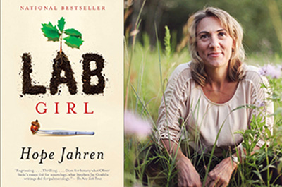Book cover art with text: Lab Girl, Hope Jahren, and the author's photo