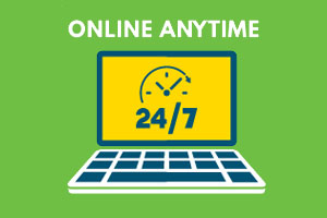 Graphic of laptop with text Online Anytime