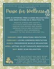 Pause for Wellness Free Guided Relaxations and Meditations as a practice flier