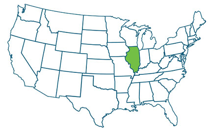 US map showing location of Illinois in the midwest