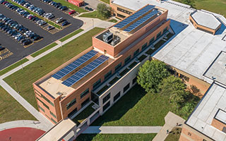 Aerial photo of CLC Science Building