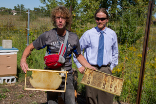 Edward Popelka and Bernard Kondenar in new apiary with bees