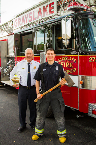 Grayslake Fire Protection District firefighter Natalee Algozino with Instructor Randy Justus