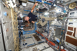 Photo of astronaut Paolo Nespoli in space station