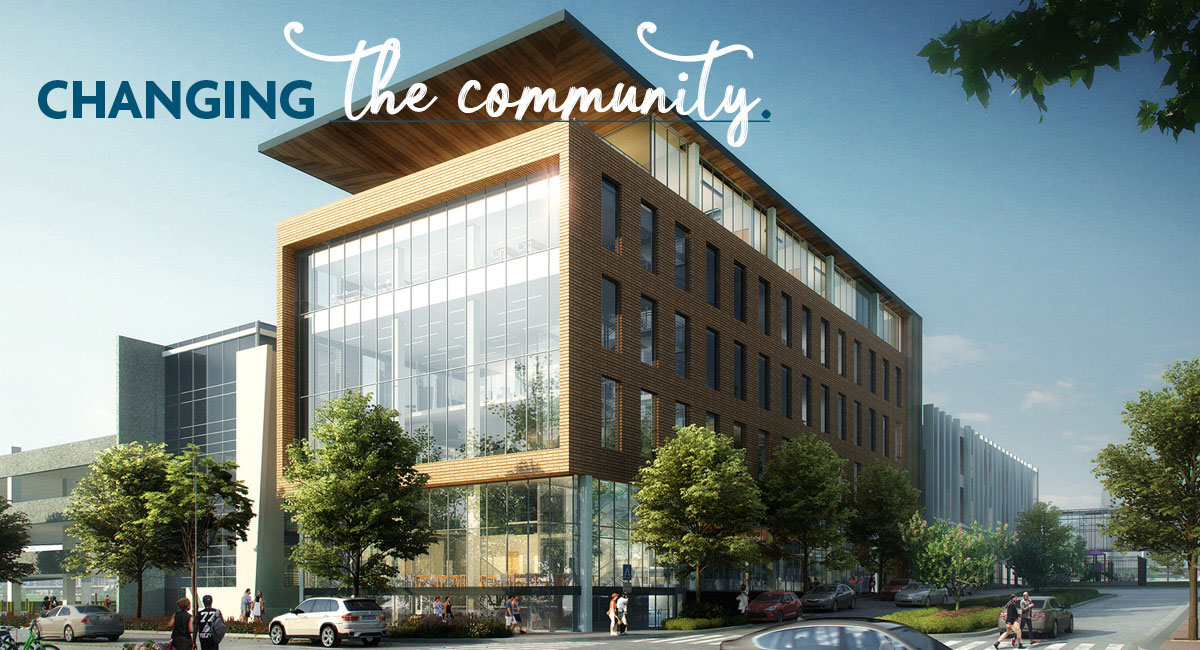 Proposed Lakeshore campus expansion building with text Changing: the community